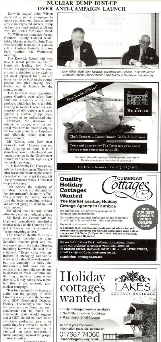 Keswick Reminder 1 Nov 13 front page
