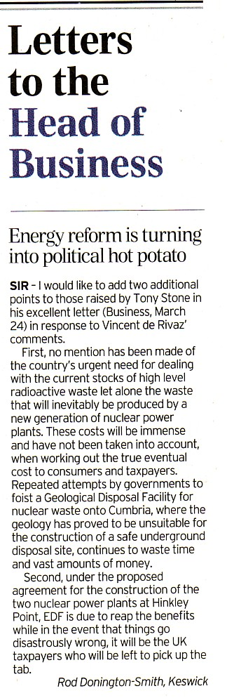Letter in Telegraph's Business section 31 Mar 14