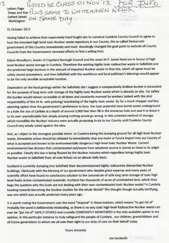 Joe Sandwith Letter