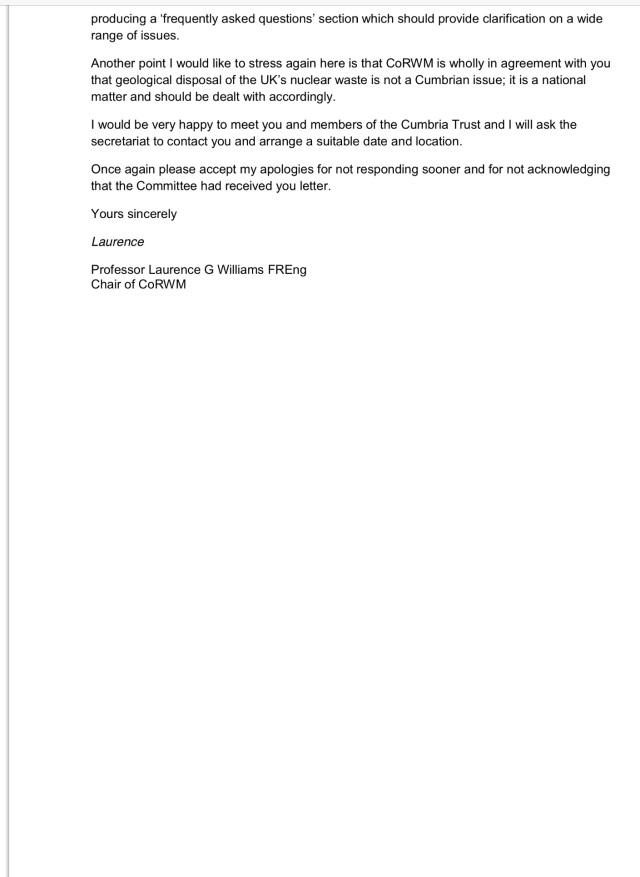 CoRWM letter 2